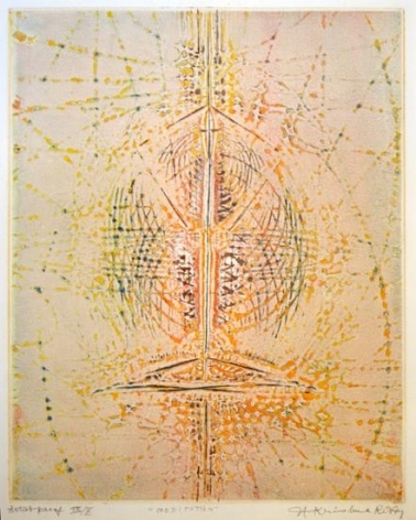 Krishna Reddy MEDITATION Color engraving 17.5 x 14 in.