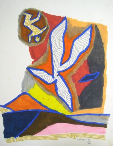 M.F. Husain BIRD SERIES 2 - COLRAIN 1980 Marker on board 13.5 x 10.5 in.