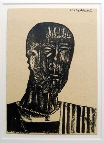 Laxma Goud UNTITLED (MAN'S HEAD) 1979 Ink on board 7.5 x 5.5 in.