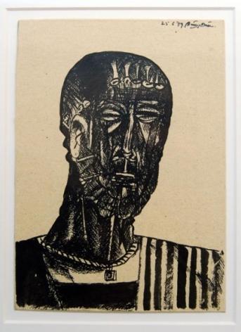Laxma Goud UNTITLED (MAN'S HEAD) 1979 Ink on board 7.5 x 5.5 in.