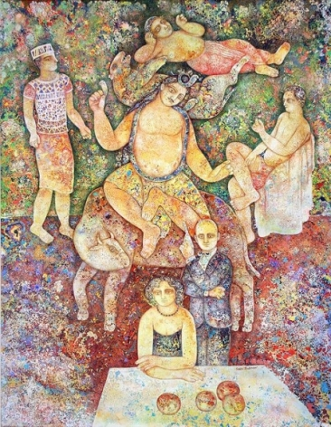 Sakti Burman NOW AND THEN 2007 Oil on canvas 57.5 x 45 in.