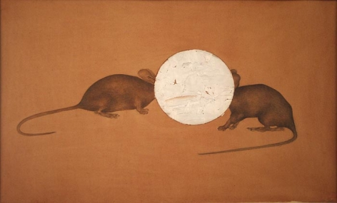 Muhammad Zeeshan Untitled (Rats) 13 x 20 in. Gouache and silver foil on paper 2007 Estimate - $5,000 - $7,000