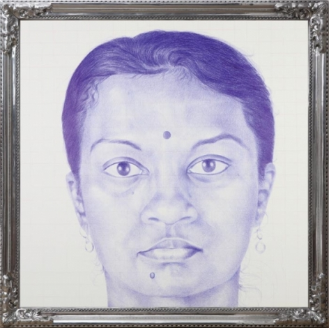 BOMBAIWALLA 2008 Ballpoint pen, drawing on silk canvas, cine-screen and aluminum 80 x 80 in.