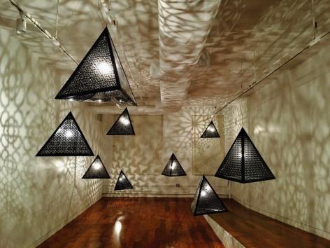 Anila Quayyum Agha Alhambra Nights (Installation) 2016 Printed acrylic and bulbs 30 x 27 x 30 in. (x9)