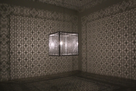 Anila Quayyum Agha Hidden Diamond 2016 Laser-cut stainless steel and bulb 36 x 36 x 36 in.