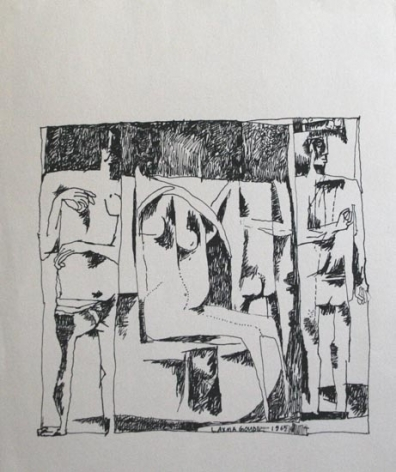UNTITLED (HEADLESS MAN WOMAN MAN ) 1965 Ink on paper 8.5 x 7 in.