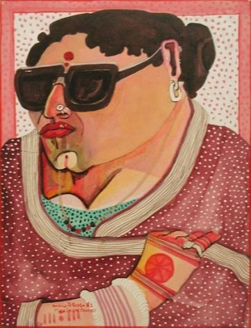 Thota Vaikuntam WOMAN IN SUNGLASSES 1987 Watercolor, pencil on board 14 x 11 in.