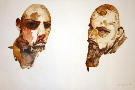 Sana Arjuma A HUNDRED THOUSAND YEARS OF GROWING BEARDS - I 2009 Coffee and acrylic paint on mylar film 24 x 36 in.  SOLD