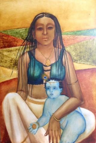 Anjolie Ela Menon Yashoda & Krishna 2016 Oil on masonite board 36 x 24 in.