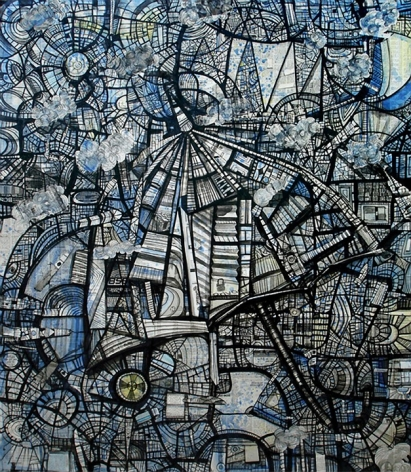 Kazi Salahuddin Ahmed SHEER CHAOS 27 2012 Acrylic and newspaper on canvas 65 x 55 in.