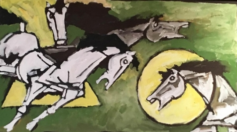 M. F. Husain Horses ND Oil on canvas  55 x 30.5 in.