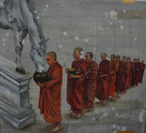 G. R. Iranna WAITING 2012 Acrylic on canvas 60 x 66 in.