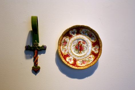 Adeela Suleman THANK YOU FOR YOUR SERVICE 2 2014 Found porcelain plate with enamel paint and hand-painted dagger Plate: 5.5 x 5.5 in. / Dagger: 7 x 2.5 x 4 in.