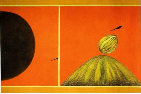 Jagdish Swaminathan UNTITLED (MOUNTAIN AND BIRD SERIES) 1984 Oil on canvas 42 x 63 in.