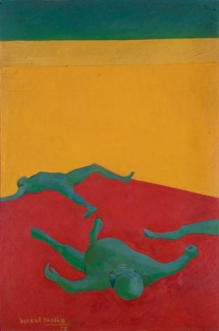 Ijaz ul Hassan KHOONI CHAWK (THE BLOODY SQUARE) 1972 Oil on board 35 x 24 in.