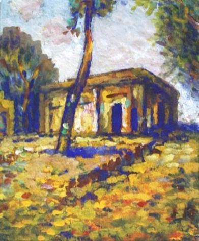 Jamini Roy Landscape At Murshidabad Tempera on card 13 x 11.5 in.