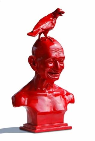 Debanjan Roy INDIA SHINING IV (GANDHI BUST WITH BIRD) Edition of 5 2007 Aluminum cast, paint 26 x 17 x 11.5 in.