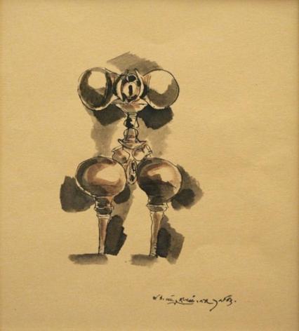 K. Laxma Goud CERAMIC SERIES (102) 1983 Watercolor, ink on paper 8 x 7 in.