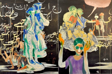 Salman Toor The Burden (Diptych) 2015 Oil on canvas 40 x 60 in.