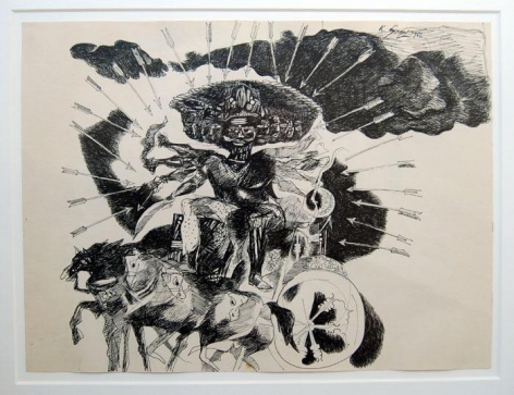 Laxma Goud UNTITLED (RAMAYANA) 1966 Ink on paper 9 x 12 in.