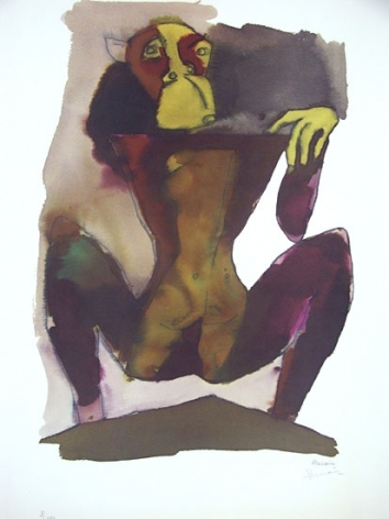 M. F. Husain HANUMAN- HANUMAN ON MOUNTAIN Serigraph edition of 350 24 X 18 in.