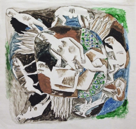 K. Laxma Goud UNTITLED (MITHUNA INSIDE MANDALA) Watercolor on paper 8.5 x 8.5 in.