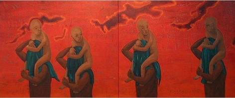 G.R. Iranna I WAIT TO HEAR THE SCREAM BY ME (DIPTYCH) 2007 Acrylic on tarpaulin 52 x 132 in.  SOLD