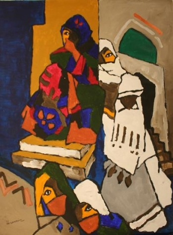 M. F. Husain WOMEN FROM YEMEN 2006 Acrylic on canvas 58.5 x 46.5 in.