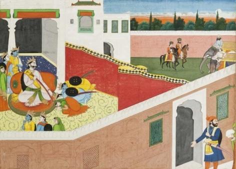 An Illustration to the Ramayana Series: Rama, Lakshmana and Sita Bid Farewell to King Dasaratha Northern India, Punjab Hills c. 1820 Opaque watercolour on wasli 9 x 12.4 in.