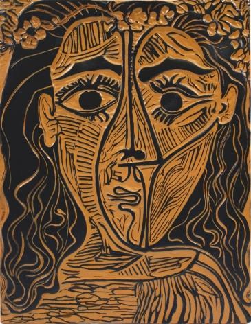 Pablo Picasso, Tete de femme a la couronne de fleurs, Woman's Head with Crown of Flowers, 1964, A.R. 522