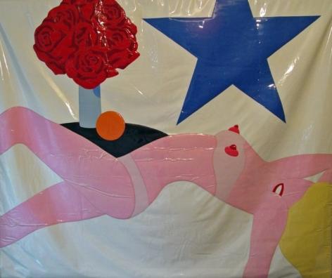 """Tom Wesselmann, 1931 - 2004, Nude Banner, 1969, Vinyl Applique Banner, H 59"""" x W 71.5"""""""