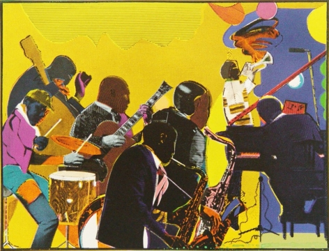 """Romare Bearden, Out Chorus, 1978-1979, Screenprint in Colors, H 22.25"""" x W 30"""", Signed Lower Right - """"Romare Bearden"""", Inscribed Lower Left - """"66/200"""""""