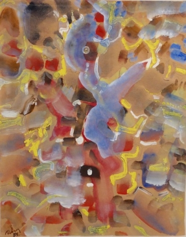 """Mark Tobey, 1890 - 1976, Untitled Abstract, 1954, Tempera on Paper, H 12.5"""" x W 10"""", Signed and Dated Lower Left"""
