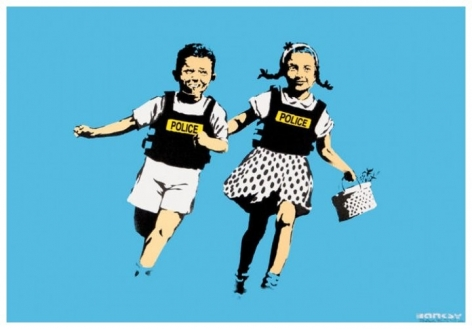 """Banksy (born 1974) Jack and Jill (AKA Police Kids) 2005 Four-Color Hand-Pulled Screenprint on Archival Paper H 19.75"""" x W 27.5""""  Signed and Dated Lower Right – """"BANKSY 05""""; Inscribed Lower Left – """"268/350"""" Price Upon Request"""