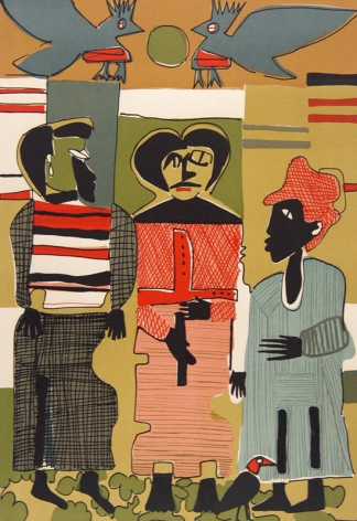 """Romare Bearden (1911 - 1988) Firebirds 1979 Lithograph in Colors H 22"""" x W 15"""" Signed Lower Right - """"Romare Bearden""""; Incribed Lower Left - """"263/300""""."""