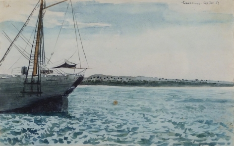 """Charles DeWolf Brownell  (1822 - 1909) Cardenas, Cuba (Sea Coast) 1859 Watercolor on Paper H 5.25 x W 8.375 Inscribed Upper Left – """"Cardenas – ap. 30-59"""" Price Upon Request"""