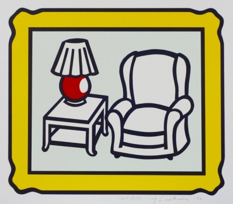 """Roy Lichtenstein, 1923 - 1997, Red Lamp, 1992, Lithograph in Colors, H 16"""" x 18.5"""", image size, Signed and Dated Lower Right in Pencil"""