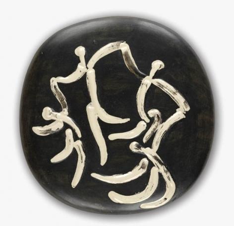 """Pablo Picasso, 1881 - 1973, Four Dancers, 1956, Ceramic Plaque, H 9.875"""" x W 9.875"""", """"Madoura Plein Feu"""" and """"Empreinte Originale de Picasso"""" stamps"""