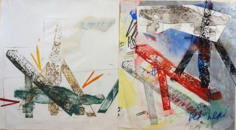 """Michael Heizer, born 1944, Untitled 1983, Collage with Photo Silkscreen, Oil Pastel and Colored Ink on Paper, H 26"""" x W 46"""", Signed and Dated Lower Right – """"Heizer '83"""""""