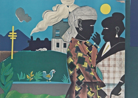 """Romare Bearden (1911 - 1988) Conversation 1979 Color Lithograph H 18"""" x W 25"""" Signed Lower Right - """"Romare Bearden""""; Inscribed Lower Left - """"130/175"""""""