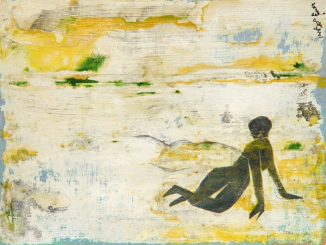 """Romare Bearden (1911 - 1988) Lonely Beach circa 1975 Collage on Canvas Mounted to Masonite H 9.25"""" x W 12.25"""" Signed Upper Right - """"Romare Bearden""""; Titled Verso - """"Lonely Beach"""""""