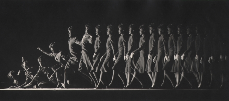 Ralph Bartholomew, Woman Falling, c. 1940. Multiple exposures of show a woman advancing across the frame from right to left, walking and then falling to the floor.