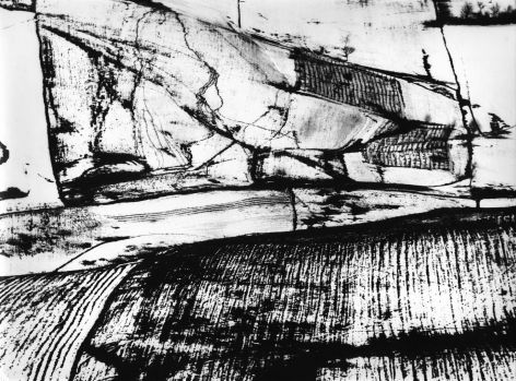 Mario Giacomelli, Metamorphosis of the Land, 1955–1968. Abstract, high-contrast landscape with prominent vertical lines.