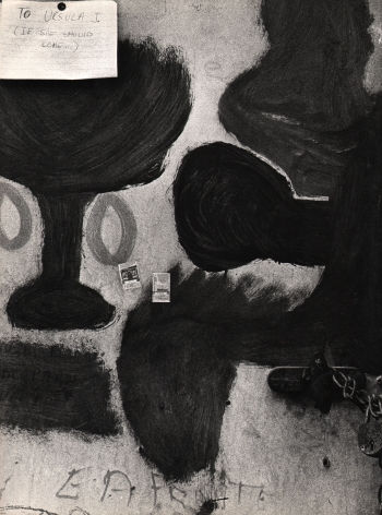"Giuseppe Goffis, Messaggio Per Ursula (Bussana Vecchia), ​1961. Detail of an abstractly painted wall with a note tacked in the upper left of the composition that reads ""To Ursula J. (If she should come...)"""