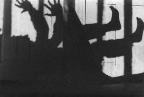 PaJaMa, Silhouettes (The Frenches), Hawthorne House, Provincetown, ​1947. Shadow of a figure laying on its back with arms and legs reaching upward.