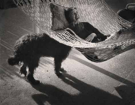 John Bryson, A 'family' picture of the photographer's wife and dog, c. 1959. A woman reclines in a hammock in the upper right of the frame, a black dog stands beneath the hammock to the left, poking its head through the hammock to the woman's face.