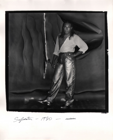 Anthony Barboza, Sylvester - Musician, 1980. Subject stands right-center of the square frame with one hand on hip, looking to the camera.