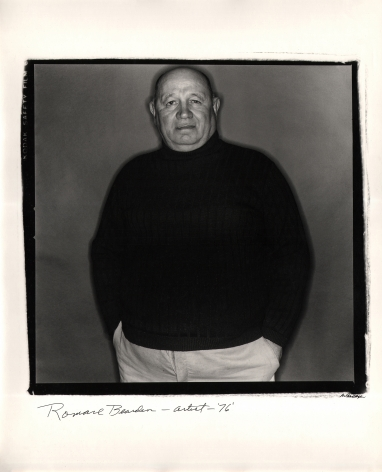 Anthony Barboza, Romare Bearden - Artist, 1976. Subject occupies the height of the square frame, hands in pockets, looking to the camera.
