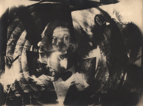 Elio Luxardo, F.T. Marinetti, ​1930. Abstract portrait featuring a man with a mustache in a tuxedo and a distortion with concentric circles.