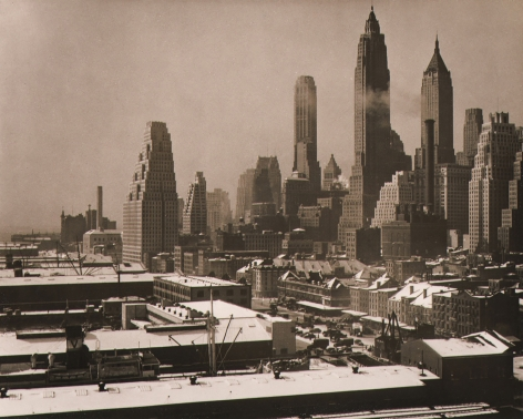 Paul J. Woolf, New York City Skyline, c. 1936. Day time cityscape with low buildings on the left and tall buildings on the right.